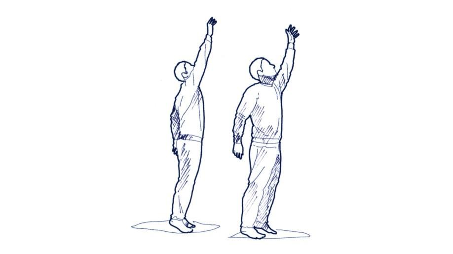 """Die Hände bei aufrechtem Oberkörper Richtung Decke strecken und abwechselnd mit der linken und rechten Hand nach oben greifen und dabei immer """"größer"""" werden."""