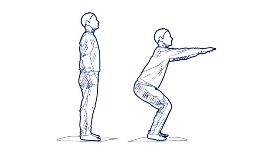 Die Schultern gerade halten und darauf achten, dass die Knie nicht über die Zehen ragen. Übung mehrmals wiederholen.