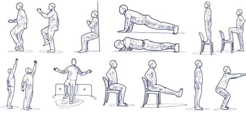 Im Stand marschieren. Dabei sollten sich das linke Bein und der rechte Arm sowie das rechte Bein und der linke Arm aufeinander zubewegen.