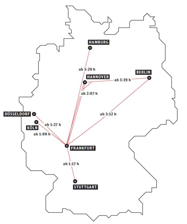 Der ICE Sprinter ist die schnellste Direktverbindung zwischen den Zentren der Metropolen.