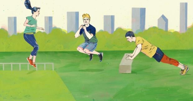 Seitwärtssprünge, Hocksprünge, Liegestütze - Effektive Übungen für das Training unterwegs
