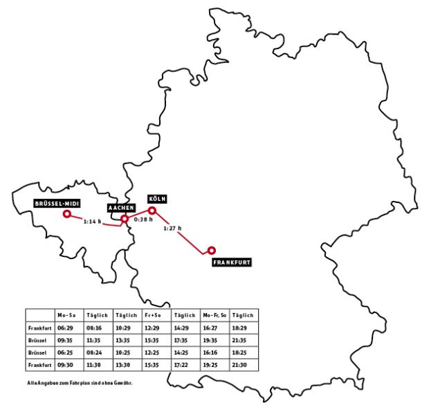 Weitere Verbindungen für Dienstreisen von Deutschland nach Belgien.