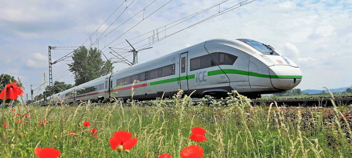 Unterwegs mit dem DB Fernverkehr - ICE 4 vor Mohnblumen